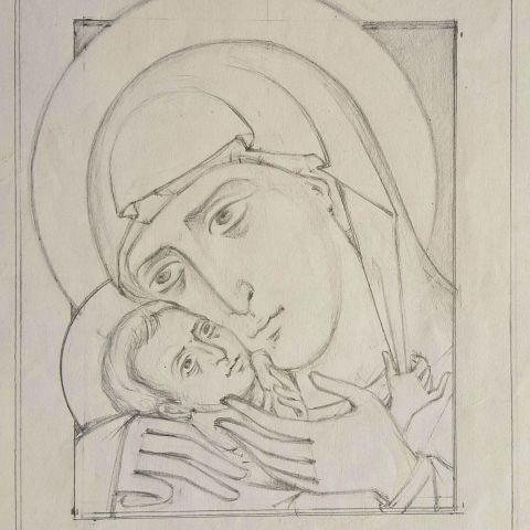 "La Mère de Dieu ""Kasperovskaia"", dessain au crayon."