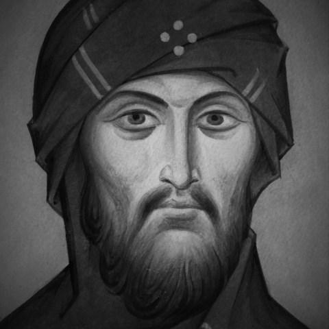 Saint Ephrem le Syrien, tempera à l'oeuf sur le papier papier à grain