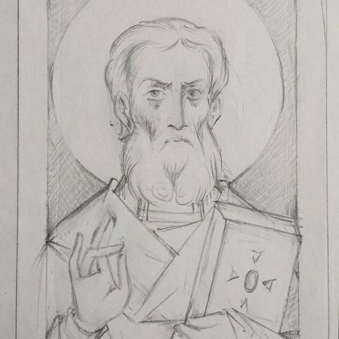 Saint Nikodem, archevêque serbe, dessin au crayon