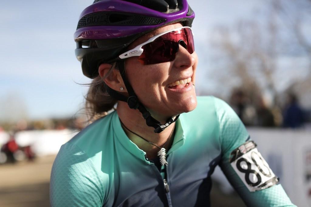 Meredith Miller wearing her racing kit
