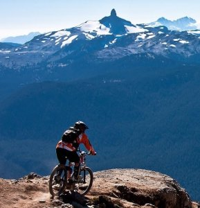 cyclist at top of mountain