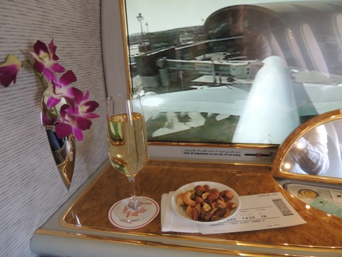 Emirates A380 First Class champagne
