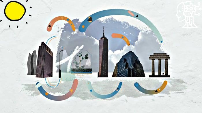 תמונה של עיר עתידנית אשר מתופעלת על ידי בינה מלאכותית.