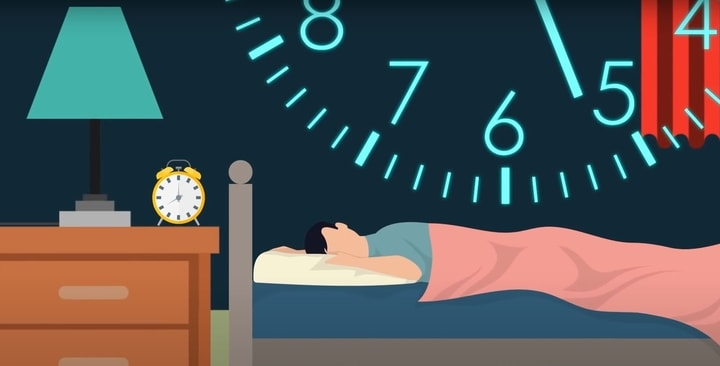 תמונה של אדם אשר מנסה להירדם מהר.