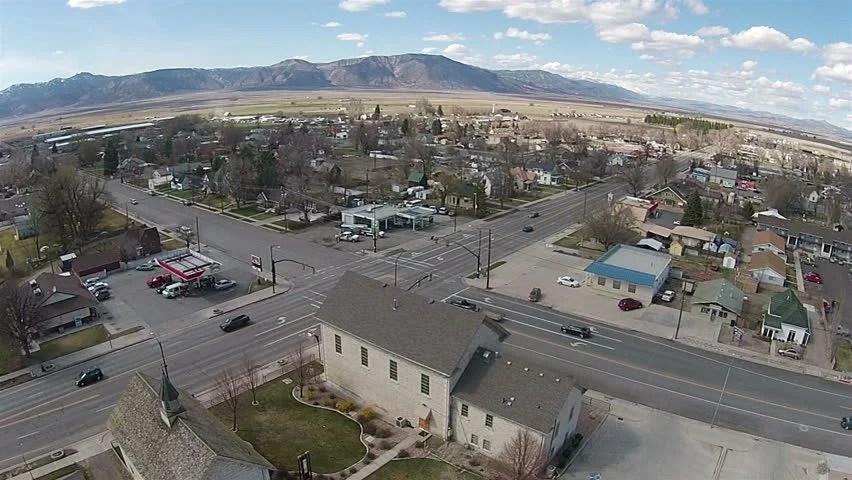 Aerial Campus Snow College Ephrain Utah. Airborne View Of ...