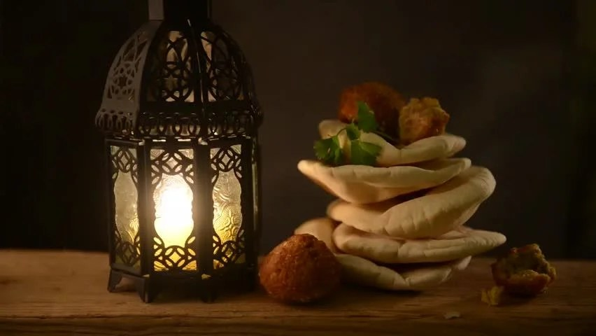 Ramadan Lantern With Islamic Rosary And Dates Stock