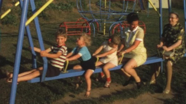 Mother, Grandma And Children On Swing (vintage 8 Mm Film ...
