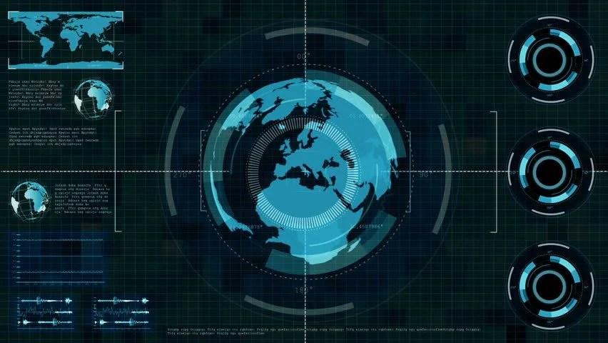 Technology Interface Computer Data Screen GUI 4K Stock