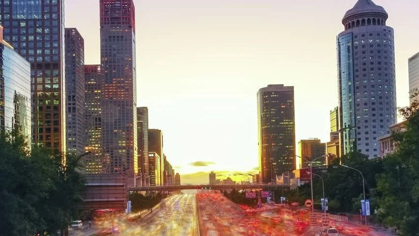 From Day To Night Tonghui River And Jianwai SOHO Beijing China Stock         CBD  Skyscrapers in Beijing  Time lapse   HD stock video clip