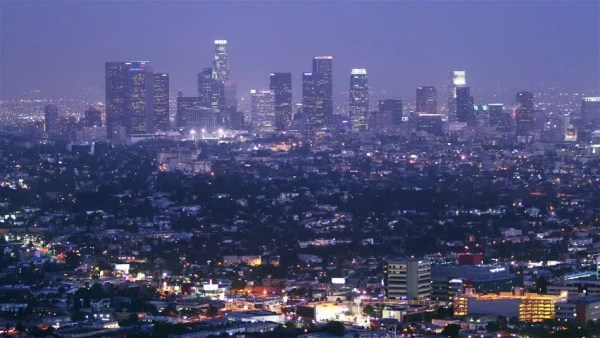 Time Lapse Of Los Angeles Downtown At Night. High Quality ...