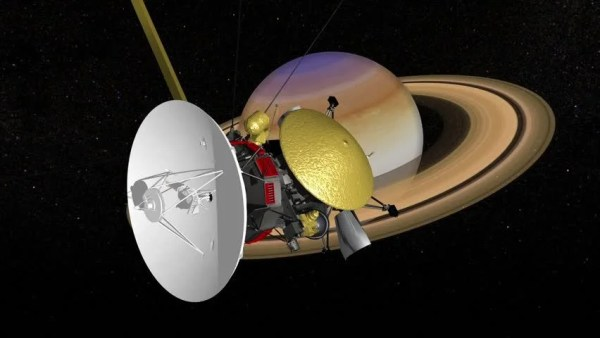 Cassini Satellite Saturn Mission. View From Saturn Stock ...