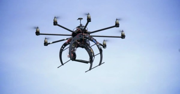 An Unmanned Drone Flies Overhead. Stock Footage Video ...