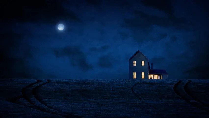 Image result for house with light on at night