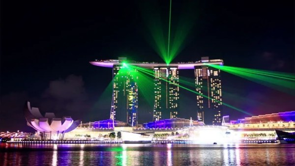 Laser Show In Singapore. Time Lapse. High Quality Footage ...