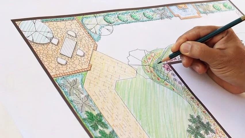 Landscape Architect Design L Shape Garden Plan Stock ... on L Shaped Backyard Layout id=73929