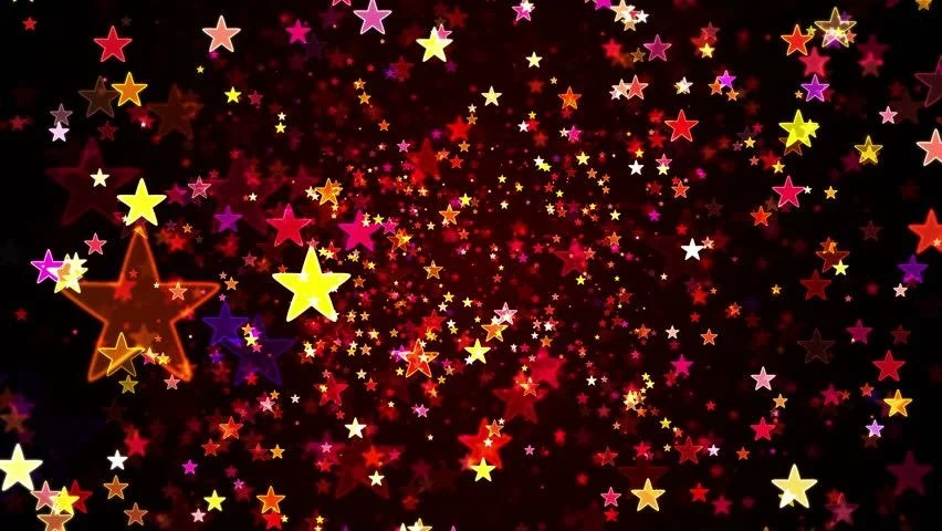 Red Shiny Stars And Confetti Background Loop Stock Footage