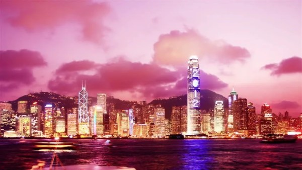 Hong Kong Skyline At Sunset. Time Lapse. High Quality ...