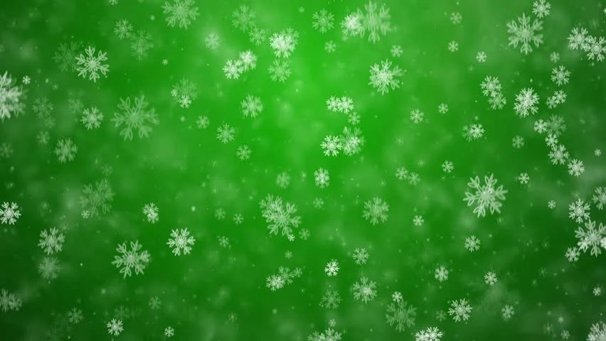 Snowflakes Falling Against A Green Frosty Background Stock