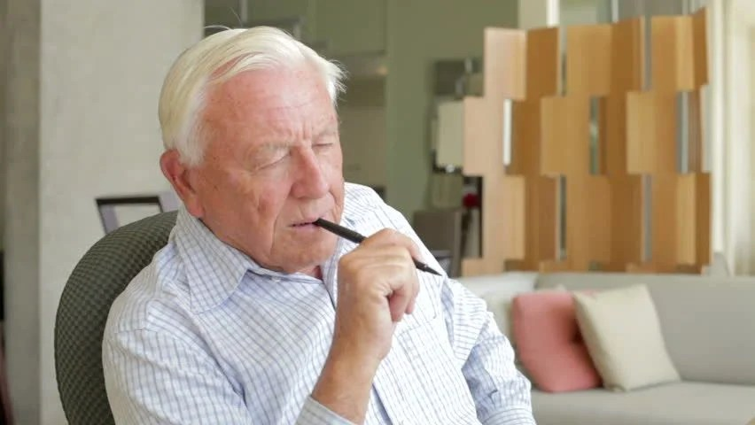 Senior Man Writing Memoirs In Book Sitting At Desk Stock Footage Video 6444296 - Shutterstock