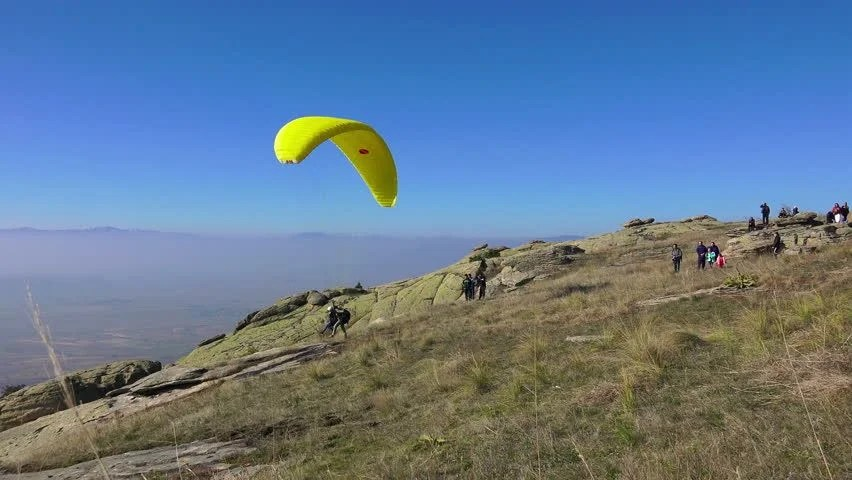 MACEDONIA, PRILEP, NOV 02, 2014, Ultra HD 4K Paraglider Tandem Takes Off Mountain During Paragliding Extreme Sport Competition On 2 November, 2014 ...