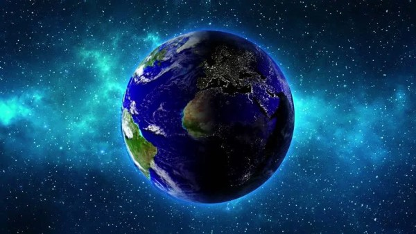 Planet Earth In Universe Or Space Rotates 360 Degrees