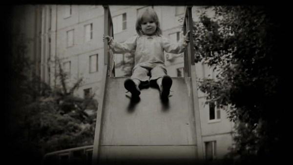 Children Spending Time In Playground Slide. Vintage 8 Mm ...