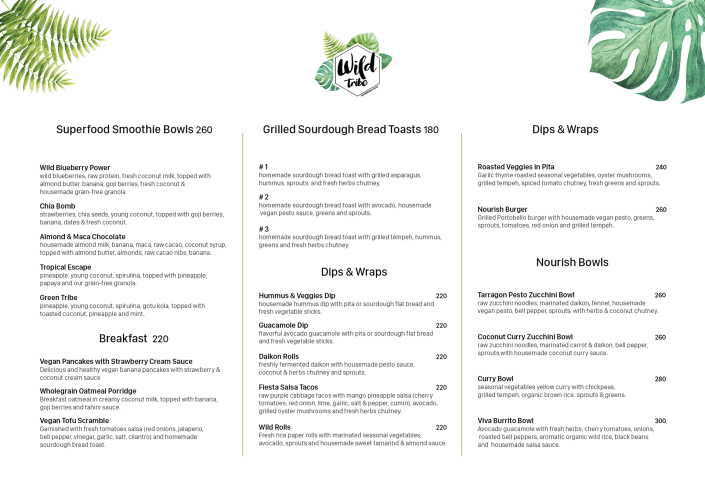 Wild Tribe menu
