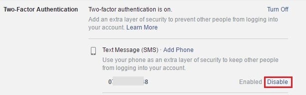 enable facebook two step authentication