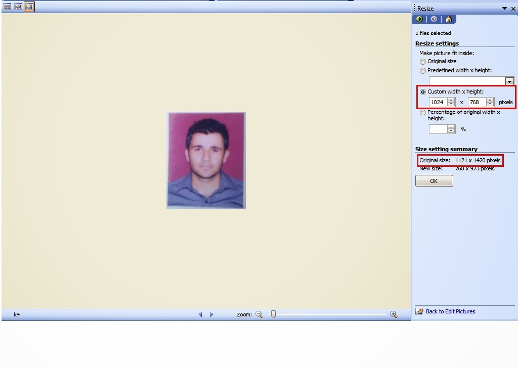 how to resize photo and sign