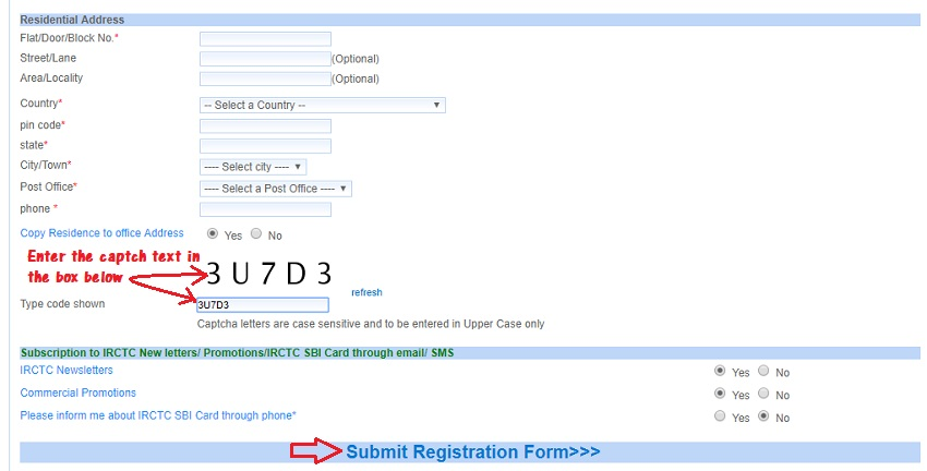 Create new account on irctc online