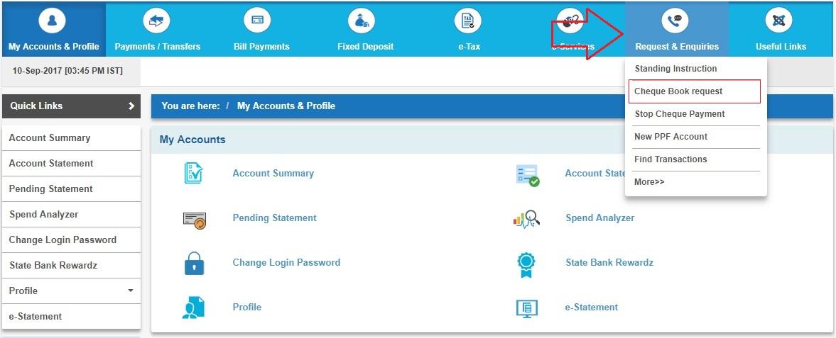 request cheque book in sbi online net