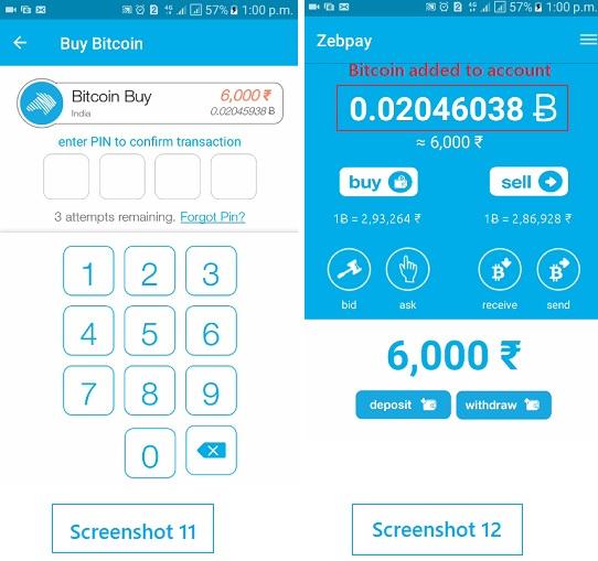 buy bitcoin from zebpay wallet account