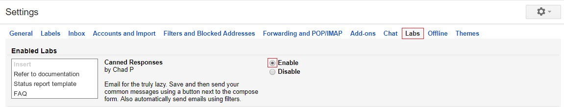 enable canned respnses for gmail - gmail tips