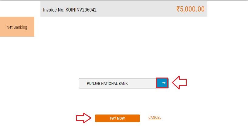 inr deposit money in koinex wallet