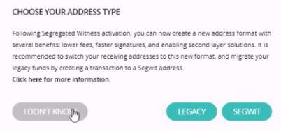 select address type - send bitcoin to ledger nano s hardware wallet