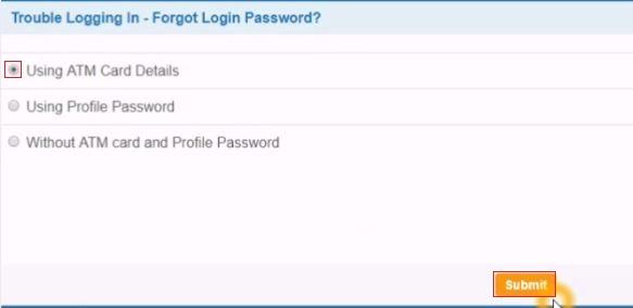reset sbi netbanking password using atm card online