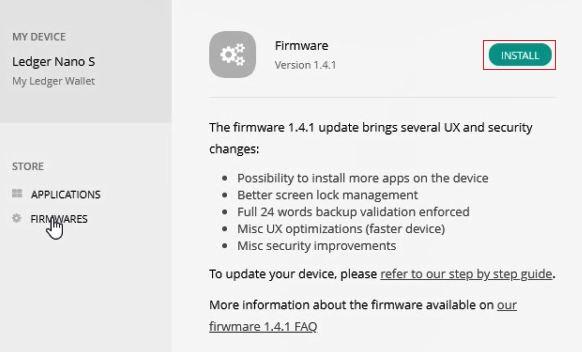 ledger nano s firmware update online