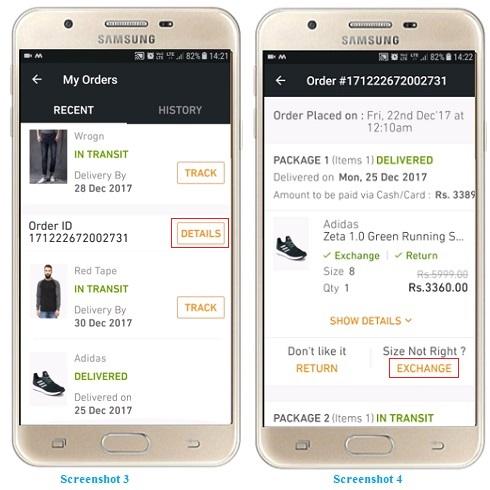Exchange or Return a Product on Jabong app