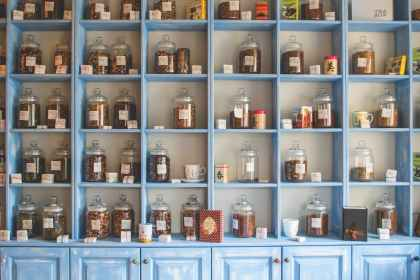 individualised jars of Chinese herbs