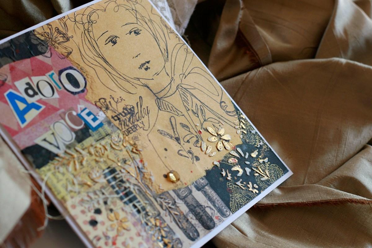 Cartão feito com papéis comuns, carimbos e desenho