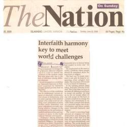 Interfaith harmoney key to meet world challenges