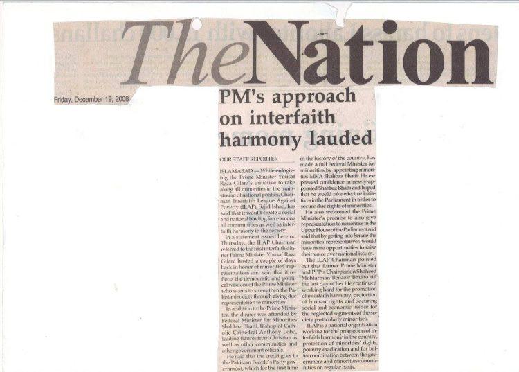 PM's approach on interfaith harmoney lauded