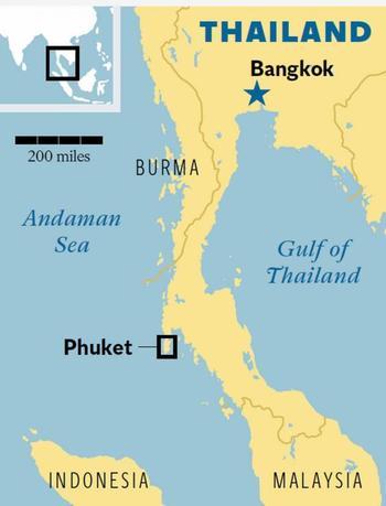 L'isola di PHUKET lungo la costa occidentale della Thailandia