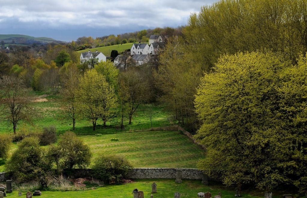 Il paesaggio dei BORDERS visto dalla torre dell'abbazia