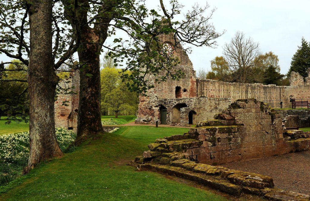 Le rovine della DRYBURGH ABBEY immerse in un giardino con alberi secolari