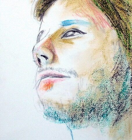 Sold - mixed media drawing portrait