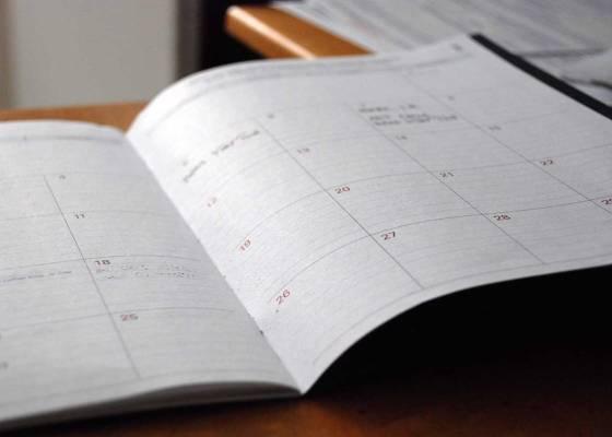 Calendar on desk