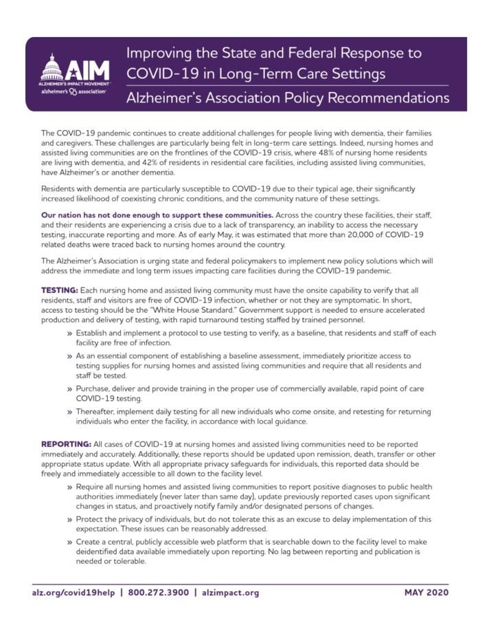 Alz Association State Response