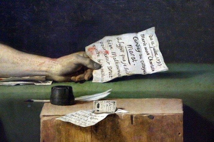 Dettaglio lettera La morte di Marat