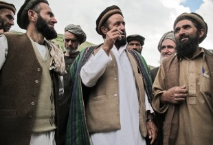 The men of the village (Balateshkhan) disuss the threat posed by landslide to their community.